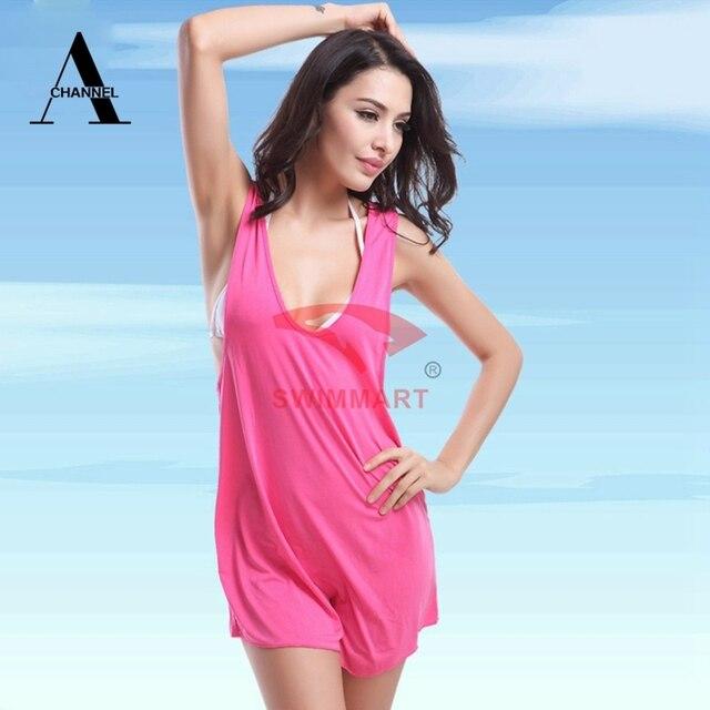 a3186ca2ee Hot Sale!! brand modern Summer Dress Women s Sexy Swimwear Bikini Cover Up  Dress Beach Swim Suit black bule pink One Piece AH030