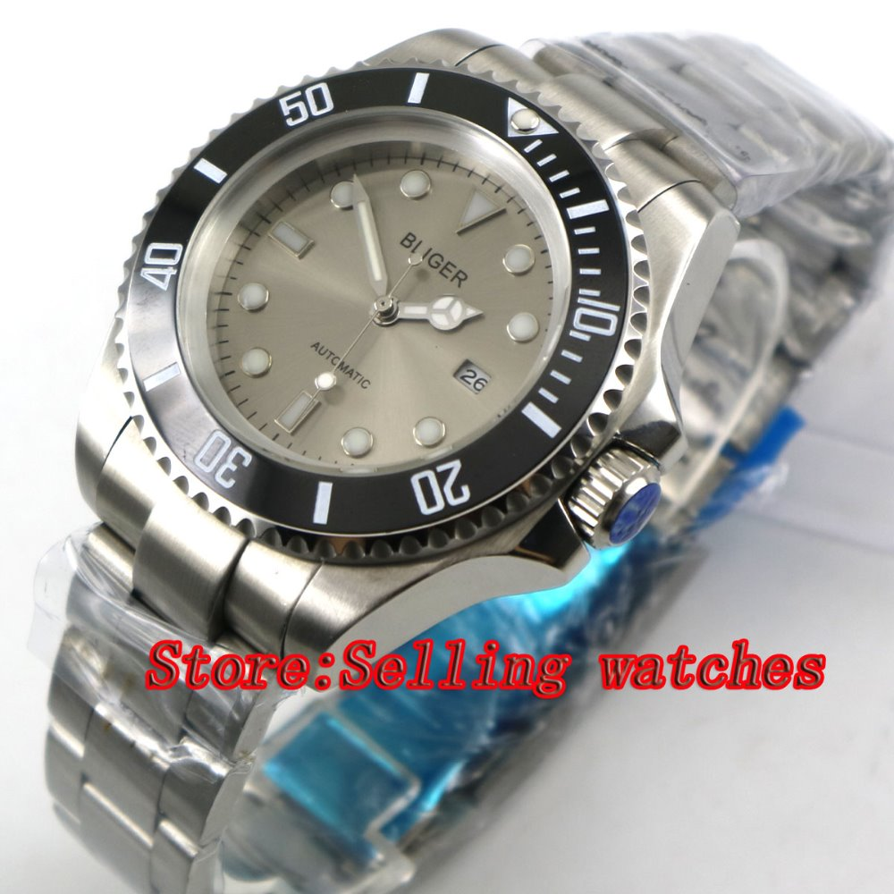 44mm Bliger Gray Dial black Ceramic bezel Sapphire Crystal Date Window Automatic Movement Men's Mechanical Wristwatches 44mm bliger gray dial blue ceramic bezel sapphire crystal automatic movement men s mechanical wristwatches