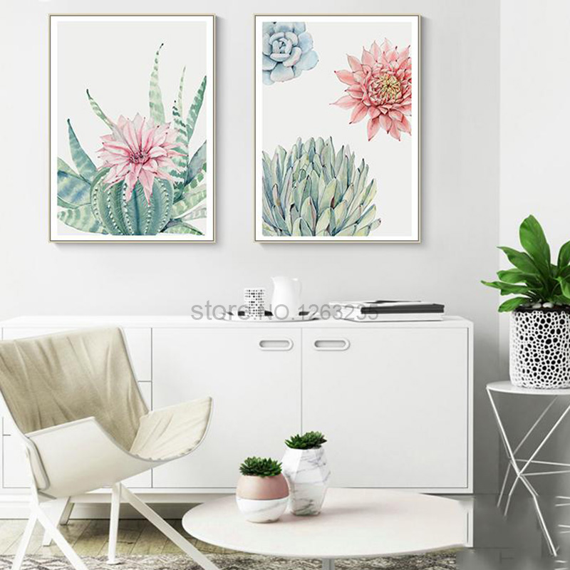 HTB1Xjn7m22H8KJjy0Fcq6yDlFXar Succulent Plants Nordic Poster Leaf Cactus Flowers Wall Art Print Posters And Prints Canvas Painting Wall Pictures Home Decor