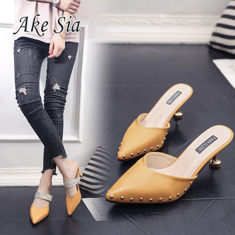 Women Summer Mules Slippers High Heels Ladies Rivets Pointed Toe Strange Style Outside Shoes For Girls Drop Shipping
