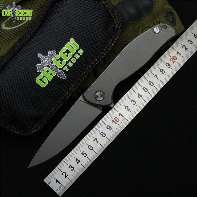 Green thorn Flipper 95 D2 steel blade Nudist Titanium handle outdoor camping hunting pocket fruit folding knife EDC Utility tool green thorn made dark flipper folding knife d2 titanium blade g10 handle outdoor survival hunting camping fruit knife edc tools
