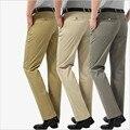 100% Algodão de Alta qualidade Calças dos homens Calça Casual Calças de Negócios Formal Do Escritório Calças Retas Terno Homme Traje Tamanho 29-40 calças