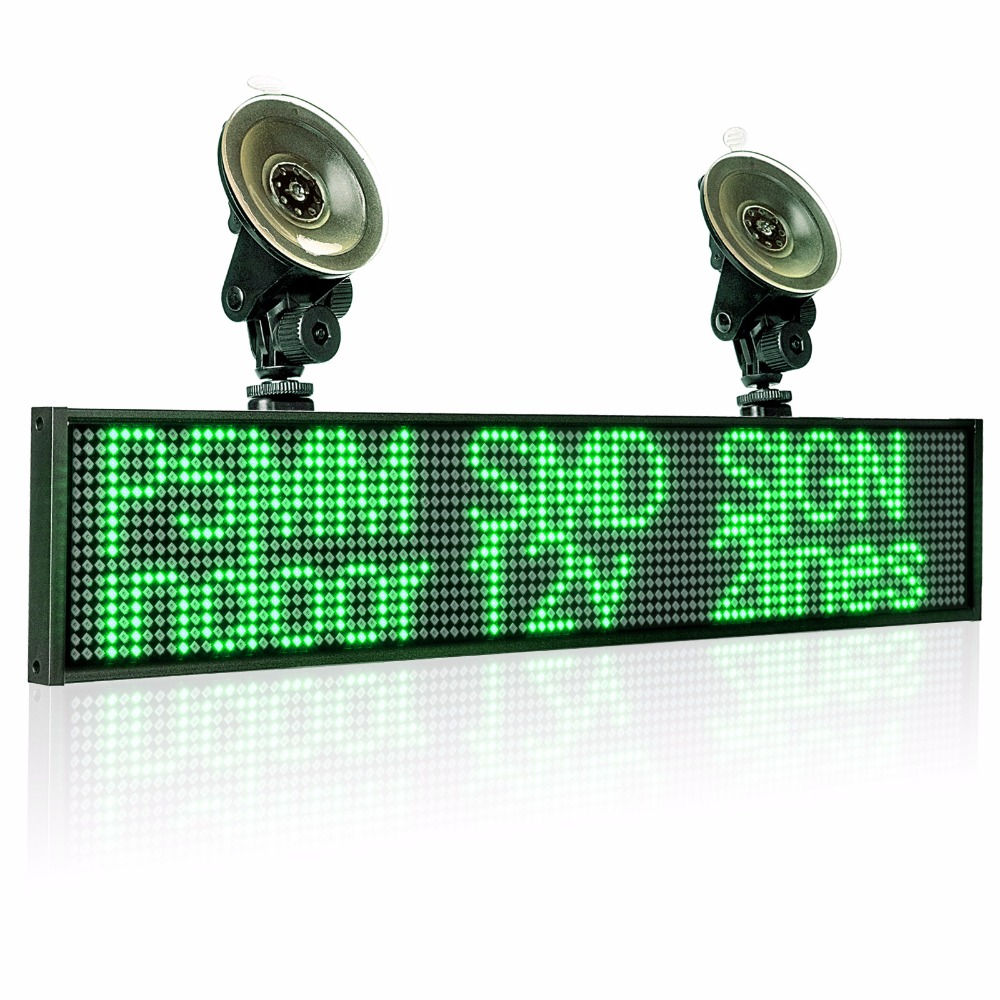50cm P5mm Wif Indoor LED Sign panel 12v Car Scrolling Ad Message board Green SMD display screen Support iOS phone input 2 sucker in Advertising Lights from Lights Lighting