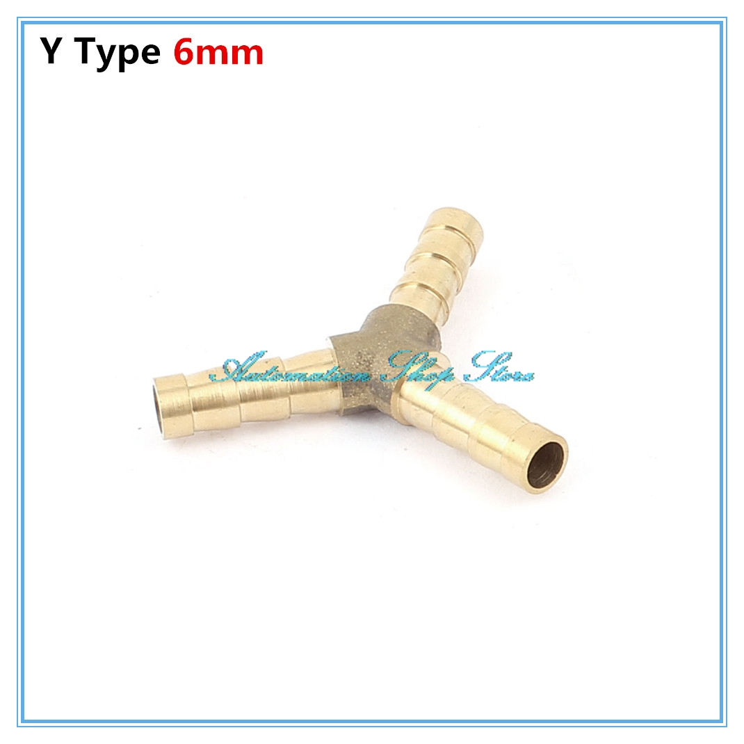 5pcs Pneumatic <font><b>fittings</b></font> 6mm Barb Hose Pipe OD Brass <font><b>Air</b></font> Water Y Shaped <font><b>Connector</b></font> Adapter Coupler image