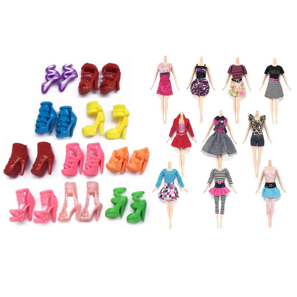 10 Pcs Brinquedo Bonecas de Moda Vestidos Elegantes Roupas Roupas + 10 Par Sapatos Acessórios para Boneca Barbie Brinquedos para Crianças Meninas aniversário