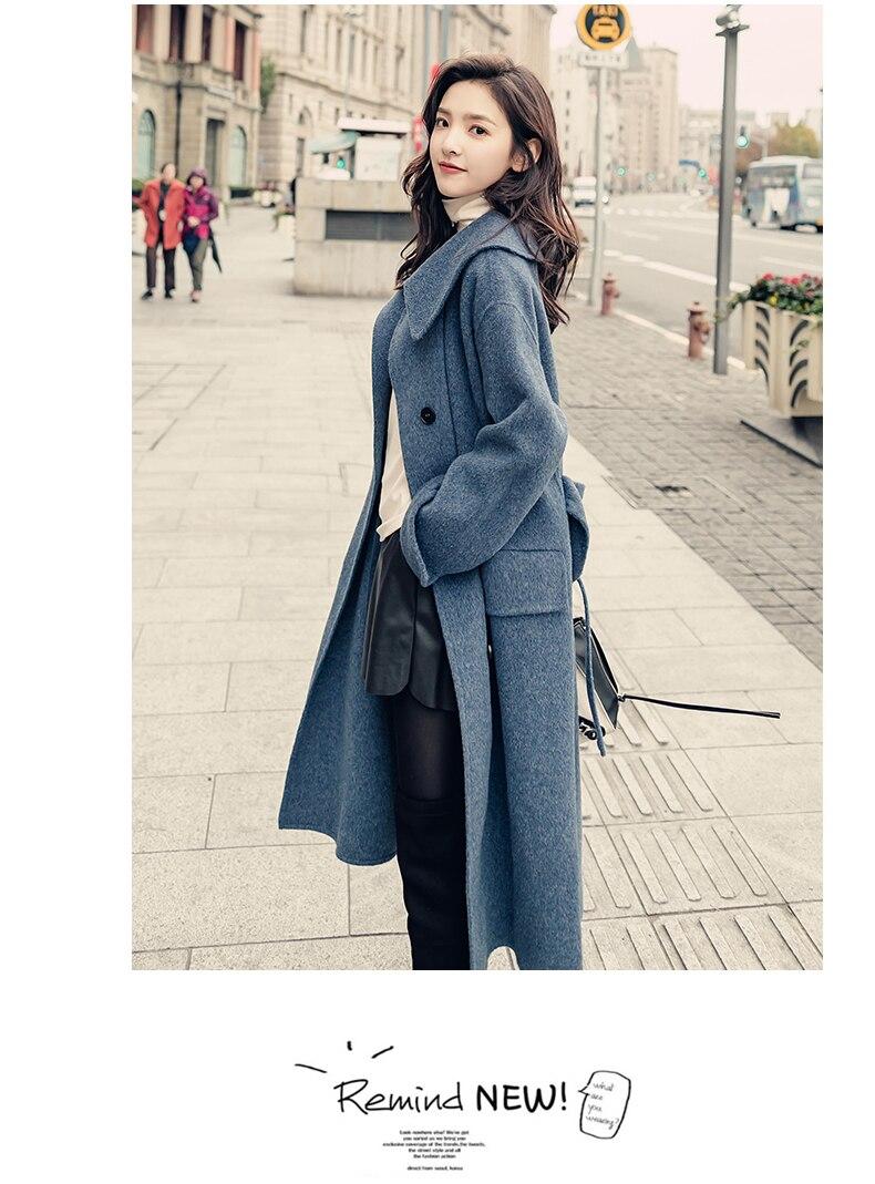 Femelle Nouveau Hiver Survêtement 2018 Xl W453 Lkghulo Manteau Mode Color De Long Bleu Pour Femmes Manteaux Photo Automne Laine R45j3AL