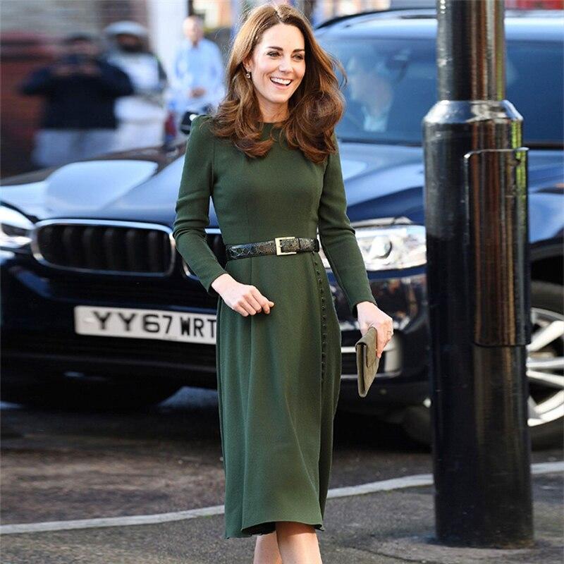 2019 nouvelle Kate Middleton solide robe de mode o-cou a-ligne robes de travail avec ceinture
