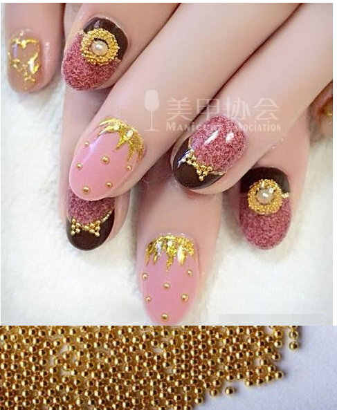 1mm 1000pcs Manicure small ball ornaments highlight super beautiful gold silver ball does not fade Manicure DIY activities