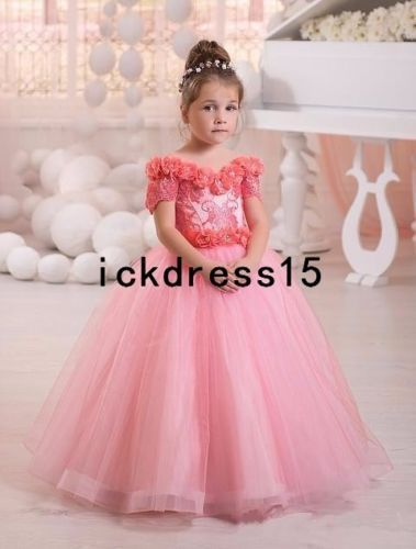 купить Pink Flower Girl Dress Kid Party Pageant Princess Formal Wedding Bridesmaid Gown дешево