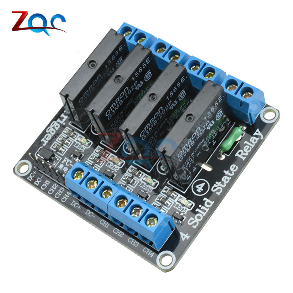 5V 4 CH Channel OMRON G3MB-202P Solid State Relay High Level Trigger Effective SSR AVR DSP Board w/ Resistive Fuse for Arduino dc 5v 1 2 4 8 channel relay module solid state relay high level trigger effective ssr avr dsp board for arduino