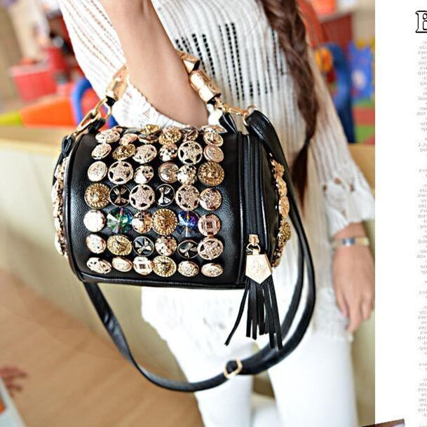 2017 Big Metal Rhinestone Buttons Handbags Drum Pillow Bucket Bag Barrel Shaped Crossbody Bags for Women Messenger Bags L858