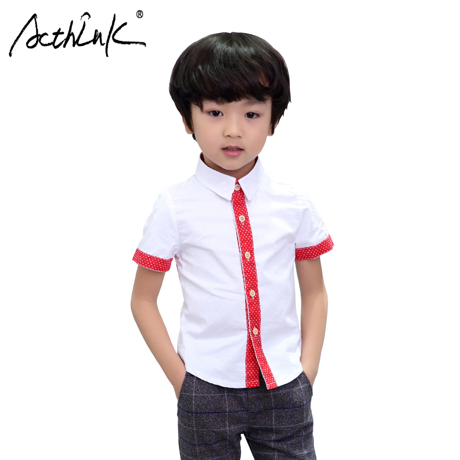 Acthink New Boys Summer Dots Dress Shirts Gentle School Kids Short