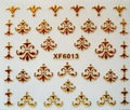 XF6013-2015 New Gold Silver Fashion style Water Transfer Stickers 3D Design DIY Nail Art Decorations Nail Sticker Nail Decal