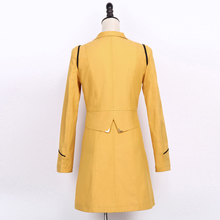 Spring Autumn Trench Coat Turn Down Collar Casual Trench Coat Women Solid Long Slim Double Breasted Coats