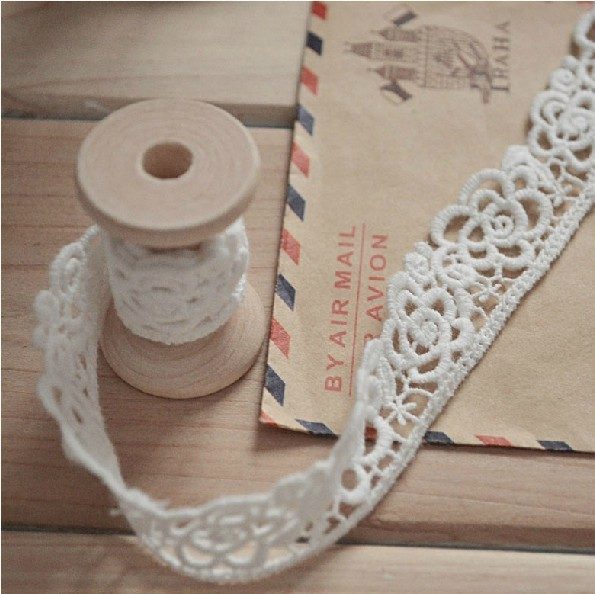 Love Craft 2cm Embroidery lace water soluble flower lace,rose lace trim 10yards/lot Free Shipping
