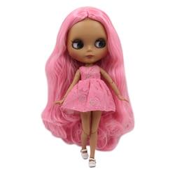 Icy dbs blyth boneca 30cm pele escura fosco rosto rosa macio sem franja cachos cabelo 1/6 corpo comum sd diy brinquedos de alta qualidade presente