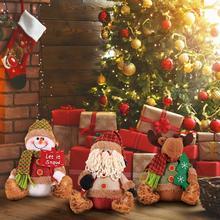 Рождество Санта Клаус плюшевые куклы украшения снеговик олень сидя осанка кукла подарок игрушка ветрина магазина настольные украшения