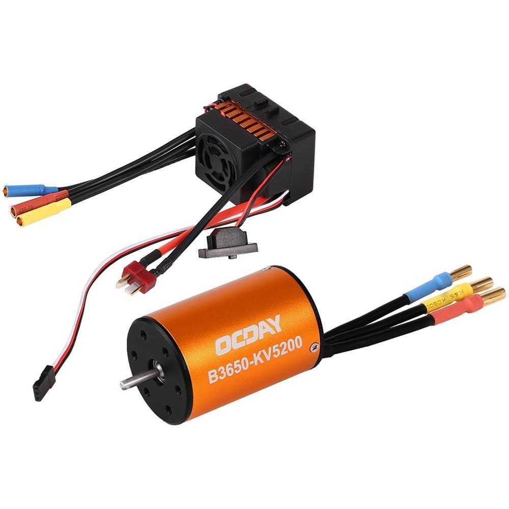 B3650 5200KV 3900KV 4 P sans capteur RC moteur Brushless 60A ESC RC voiture moteur contrôleur pour RC voiture 1/10 modèle de chenille