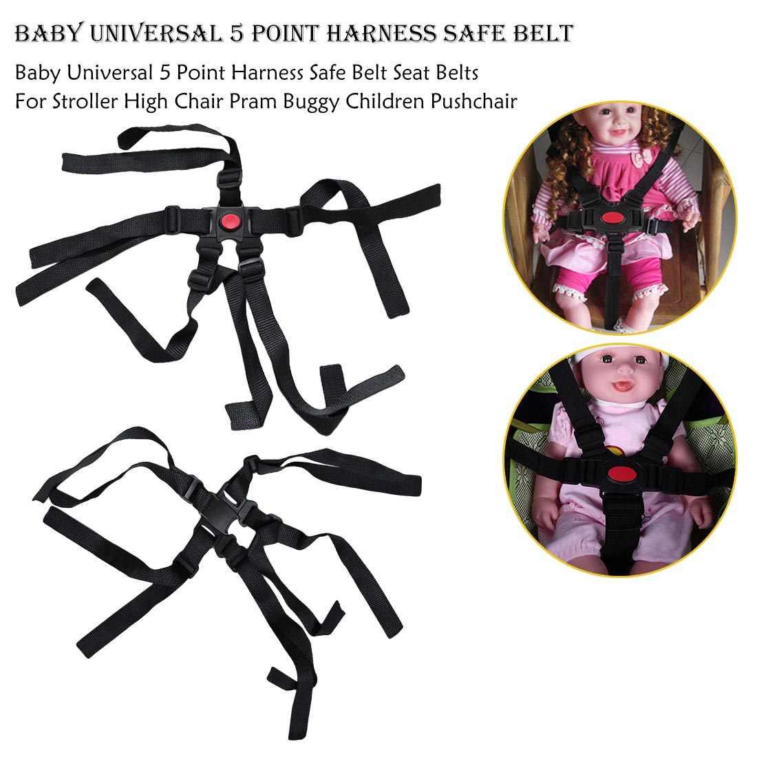 เข็มขัดนิรภัยสำหรับรถเข็นเด็กเก้าอี้สูงเด็ก Universal 5 จุดปลอดภัยเข็มขัดรถเข็นเด็กอุปกรณ์เสริมเหมาะสำหรับปลอดภัยใช้งานง่าย