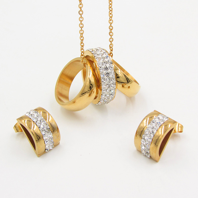 2018 New Top Gold round jewelry set pendant/earrings/necklace Women Wedding jewelry ets