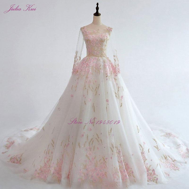 bb54c4802a Julia Kui New Arrival A line Floral Print Wedding Dress Full Sleeve ...