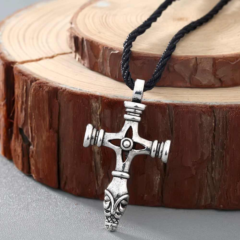 Tibetan Silver Celtic Cross PU Leather Cord Choker Necklace Crucifix Pendant