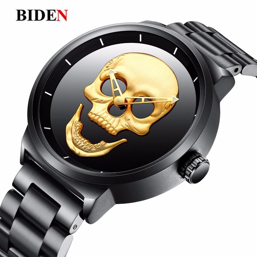 Cráneo para hombre reloj de cuarzo de moda única 3D impermeable de los  hombres de lujo Steampunk relojes de acero inoxidable deportes reloj  Relogio ... a5795ae3ae9f