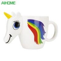 ילדה Cartoon 3D צבע שינוי קרמיקה כוס קפה מתנה חמודה יצירתיים סוס קסום חדשני כוסות