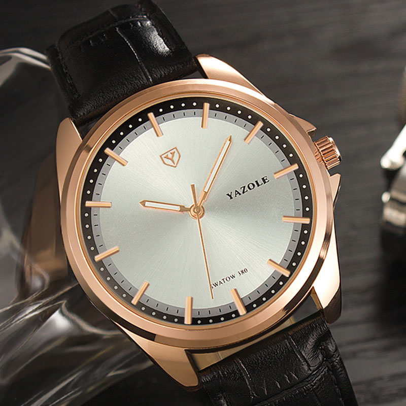 New Relojes Hombre Mens Watches Top Brand Yazole Luxury Watch Men Watch Waterproof Leather Roman Wristwatch Masculino Male Clock