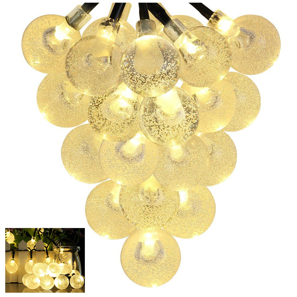 Solar Outdoor String Lights 20ft 30 LED Warm White Crystal Ball Solar Powered Globe Fairy Lights for Garden Fence Path