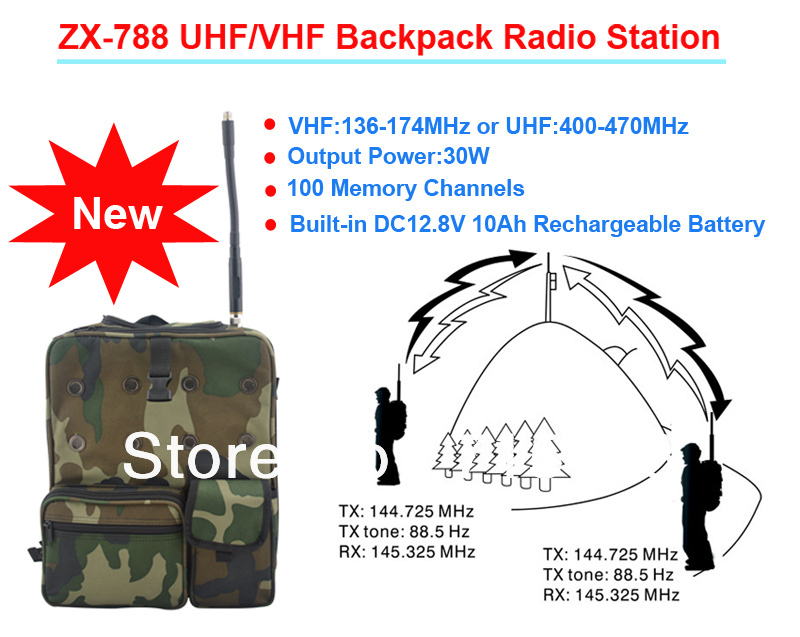 Midland 30W 100CH VHF/UHF Backpack Radio Station/Mobile Transceiver With Built-in 10Ah Rechargeable Battery For Police,Tourisim