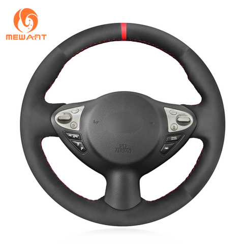 mewant preto camurca sintetica cobertura de volante para infiniti fx fx35 fx37 fx50 qx70 nissan
