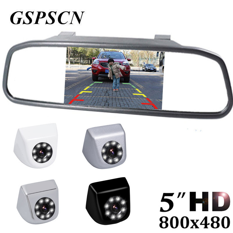 GSPSCN Auto Mirror Monitor Car Parking Assistance System 5 inch HD 800*480 TFT LCD Car Monitor With Metal HD Rear View Camera