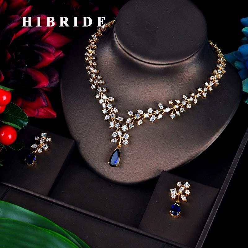 HIBRIDE Charm Blue Water Drop Dubai Jewelry Sets Gold Color Wedding Necklace Earrings Sets Bijoux bijoux