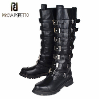 Prova Perfetto Top Quality Genuine Leather Knee High Boots Women Fashion Rivet Studded Belt Buckle Boots