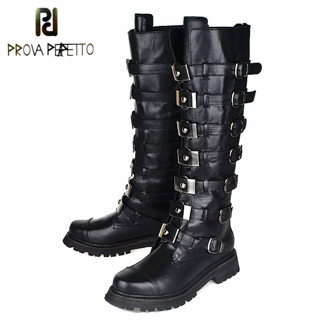 Prova Perfetto Top Quality Genuine Leather Knee High Boots Women Fashion Rivet Studded Belt Buckle Boots Winter Martin Boots