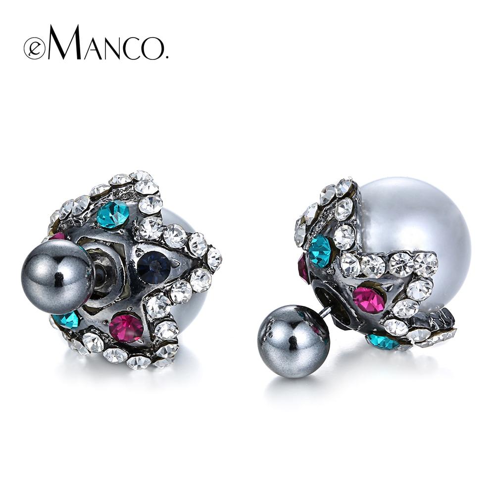 Stud Reversible Earring Silver Rhinestone Earrings