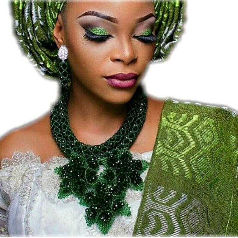 Nigerian jewelry Set for Women Handmade Flowers Dark Green African Necklace Set Beads Free Shipping Earrings Bracelet Jewellery