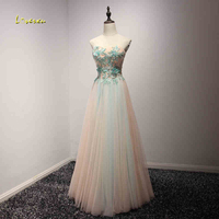 Loverxu Glamorous Appliques Strapless Lace Up Long Prom Dresses 2017 Beaded Graduation Dress Formal Party Gown