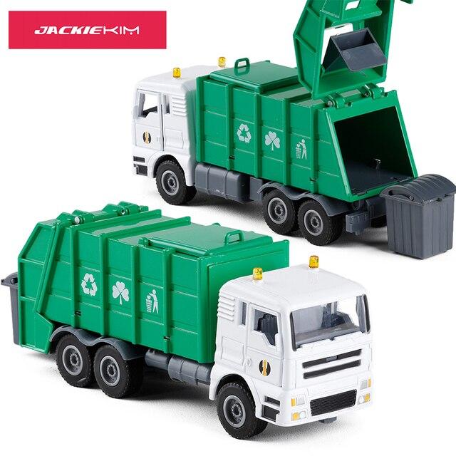 Tinggi simulasi paduan coran rekayasa kendaraan model 1:50 Paduan truk sampah logam toy kendaraan anak-anak hadiah gratis pengiriman
