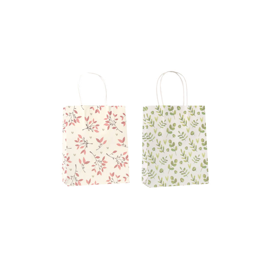 Image 3 - 50 Pcs/lot Sweet Flower printed  kraft paper bag Festival gift  bags Paper bags with handles children gift bags 18x15x8cmGift Bags