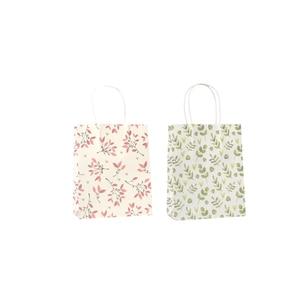 Image 4 - 50 יח\חבילה מתוק פרח מודפס קראפט נייר תיק פסטיבל מתנת שקיות נייר שקיות עם ידיות ילדי מתנת שקיות 18x15x8cm