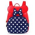 2-7 años niñas de kindergarten schoolbag princesa dot bow mickey mochila para niños impermeable de cuero de la pu bolsos de escuela niños satchel