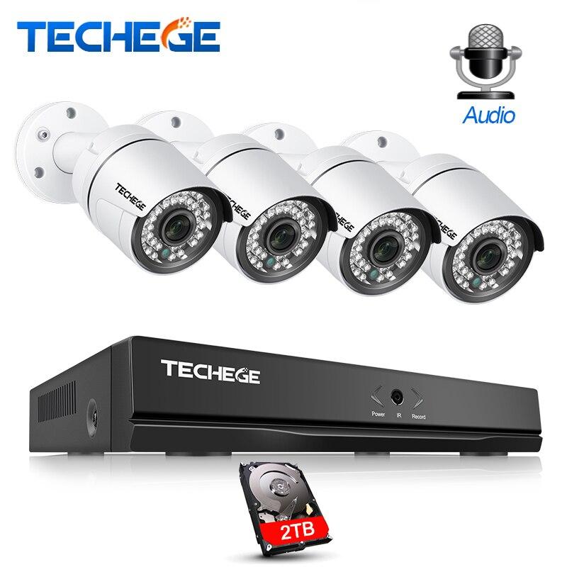 Techege 4CH NVR 1080 p POE Telecamera A CIRCUITO CHIUSO del Sistema di 2MP Esterno Impermeabile Telecamera ip Email Alert Casa Cecurity Video di Sorveglianza kit