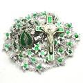 Verde grano del metal de la aleación pequeño pájaro del grano verde religiosa rosario católico collar del rosario de la cadena