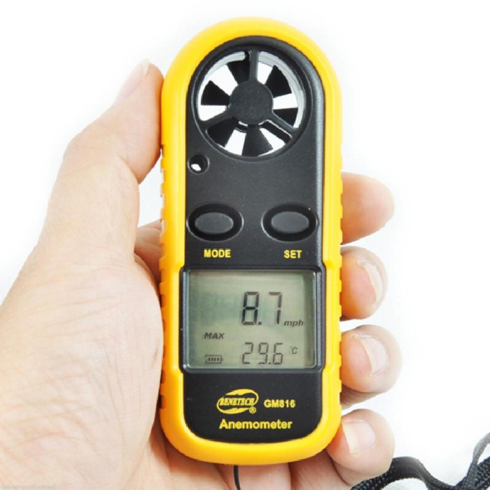 Digital Handheld Wind Speed Gauge Meter GM816 30m / s (65MPH) Pocket Cerdas Anemometer Skala Kecepatan Angin Udara Anti-gulat Ukur