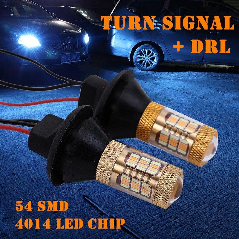 54led luz de circulação diurna turn signal modo duplo drl led luzes externas ba15s bau15s 1156 p21w s25 t20 w21w wy21w 7440 luz