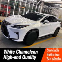 Gloss Pearl White to gold VINYL Car Wrap FILM Air Bubble Free chameleon flip covers foile 1.52*20M High end series Material