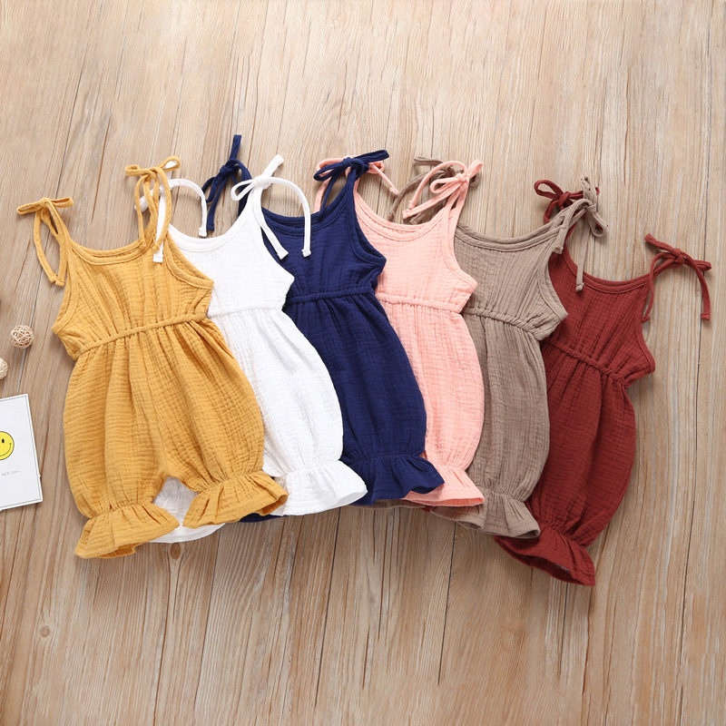 Lovely Retro Baby Girl   Romper   Soft Cotton Summer Clothing Sleeveless Strap Toddler Jumpsuit Solid Flare Leg Overall   Romper   0-4Y
