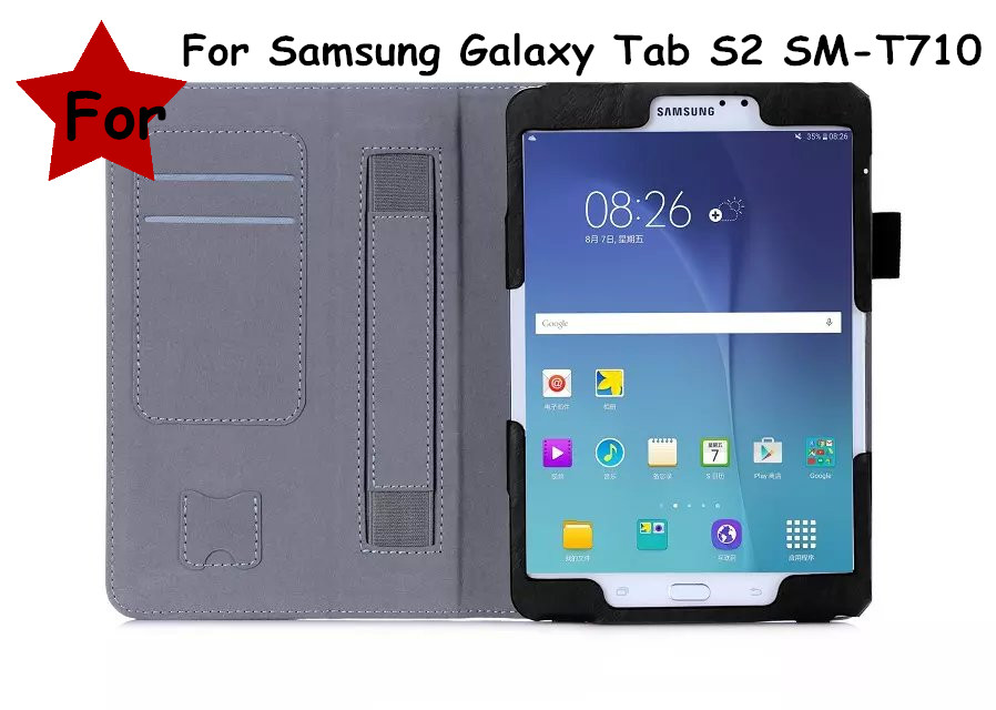 Stand Flip Cover For Samsung Galaxy Tab S2 8.0 T710 SM-T710 T715 SM-T715  Tablet  Leather Case With Hand Holder & Card Slot new x line soft clear tpu case gel back cover for samsung galaxy tab s2 s 2 ii sii 8 0 tablet case t715 t710 t715c silicon case